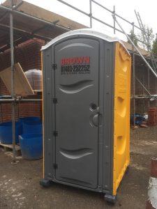 Portable toilet on site